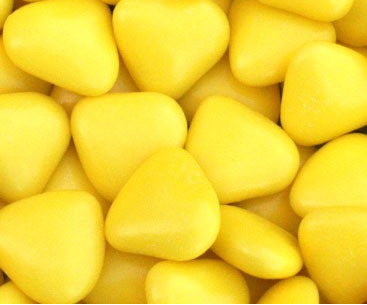 Dragées chocolat coeur jaune