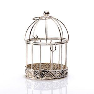 contenant cage oiseau argent