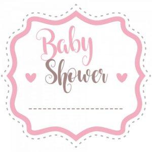 étiquette baby shower rose